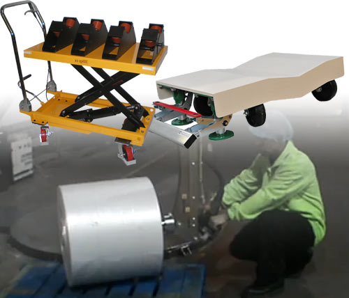 paper handling roll turner, paper roll trolley and paper roll lifter