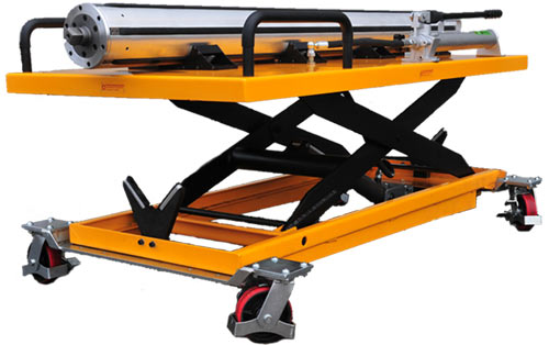 paper shaft trolley for moving airshafts and heavy paper shafts